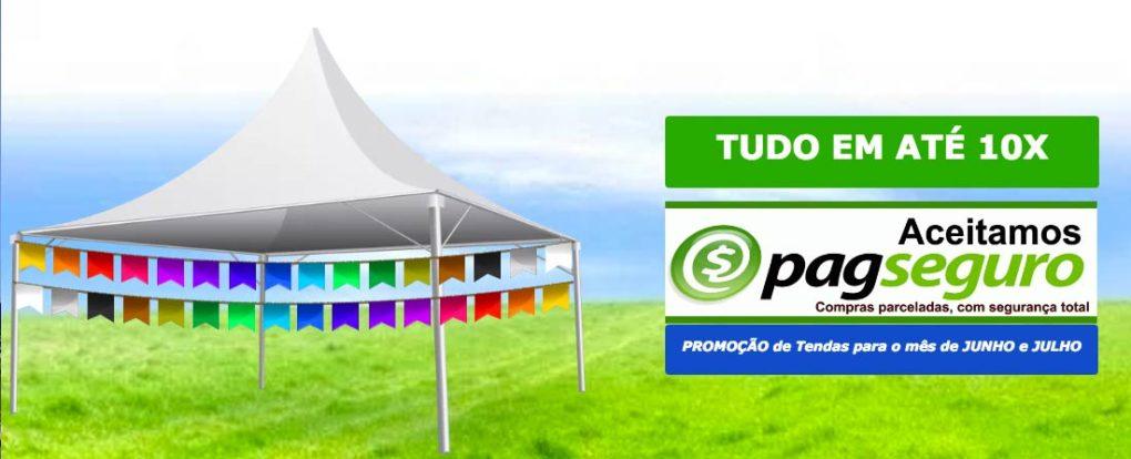 slide para festa junina promoção de tendas em até 10x